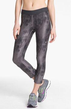 Women's L NIKE Dri Fit Crop Relay Capri GRAY Tie Dye Printed Running JUST DO IT…