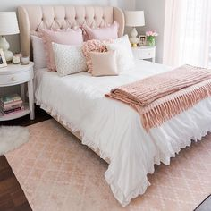 Sophisticated Blush and White Bedroom Decor | White Bedding | Blush Throw Pillows and Blanket | Blush Floor Rug