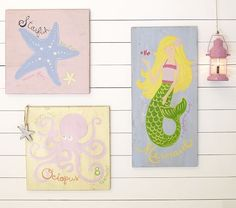 Pastel Surf Plaques | Pottery Barn Kids --- although I think I could Paint these in the colors of her room
