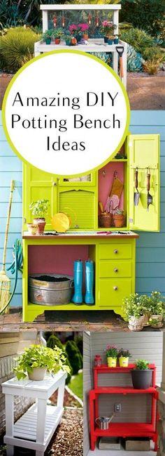Outdoor living, outdoor living hacks, gardening, porch ideas, patio decorations, DIY patio furniture, garden furniture, DIY potting bench, potting bench ideas