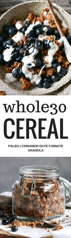 Easy whole30 and paleo cinnamon date granola. Made with toasty coconut, almond, nutty infusions, date pieces, and cinnamon spice. Sweetened naturally with pure date syrup! Made in minutes. Whole30 breakfast recipes. Whole30 breakfast ideas. Whole30 granol