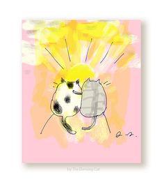 Friendship Cat Card  Sunrise/Sunset Cats  Thinking by jamieshelman