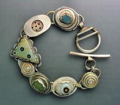 Sterling silver bracelet with agates and jasper cabochons