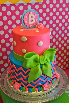 Amazing cake at a chevron themed birthday party!   See more party ideas at CatchMyParty.com!