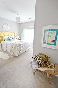yellow and turquoise master bedroom