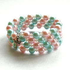 Glass Pearl Memory Wire Bangle, Pink and Blue £10.00