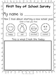 Day of School Activities grade and Jitter Juice Back to School Survey - cute. Would be neat to take an actual picture and then give this to the parents at the end of the year. Back 2 School, 1st Day Of School, Beginning Of The School Year, School Fun, School Ideas, First Grade Classroom, Kindergarten Classroom, Transitional Kindergarten, First Day Of School Activities