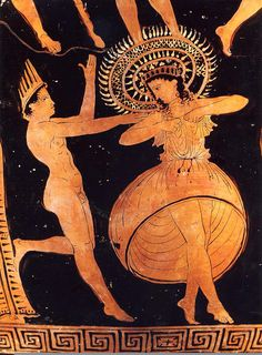 Apollo - dancers in fancy 'basket-hats' celebrate. Karneia; Spartan colony of Taras, S.Italy, 400 BC.