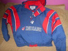 Vintage Warm Indians Hooded Starter Adult Jacket Medium Blue/Red/White  #Starter #ClevelandIndians