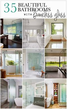 Oh my goodness - these bathrooms are dreamy! Lots of inspiration for gorgeous contemporary and traditional style bathrooms incorporating frameless glass. | A house full of sunshine #bathroom
