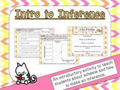 This is a quick intro lesson to begin teaching students about inferring. It starts with teaching students about schema and then moves into what is an inference and how to use schema to infer.   It includes visuals, simulations, worksheets, create your own worksheets, and fun themes for students.