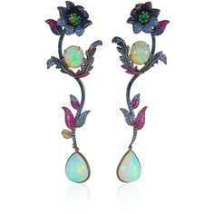Lydia Courteille     Flower Drop Earrings ($35,200) ❤ liked on Polyvore featuring jewelry, earrings, multi, flower earrings, drop earrings, blossom jewelry, flower jewelry and flower jewellery