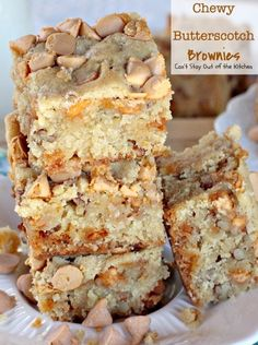 Chewy Butterscotch Brownies - Can't Stay Out of the Kitchen Brownie Recipes, Cookie Recipes, Snack Recipes, Dessert Recipes, Bar Recipes, Oven Recipes, Snacks, Dessert Ideas, Baking Recipes