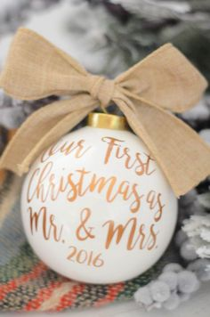 First Christmas as Mr and Mrs, Christmas ornament