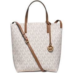 Michael Michael Kors Hayley Large Convertible Tote ($198) ❤ liked on Polyvore featuring bags, handbags, tote bags, white tote, michael kors tote bag, convertible tote, white purse and convertible tote bag