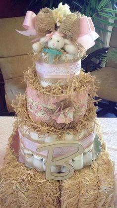 Shabby Chic Diaper Cake  3 Tier with Paci by TheKraftyKornerbyKim, $95.00