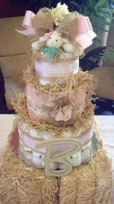 Shabby Chic Diaper Cake - 3 Tier with Paci Buddy Plush. $95.00, via Etsy.