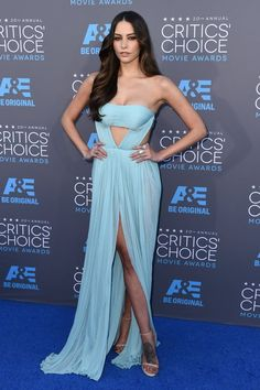 Genesis Rodriguez stepped out in a light blue gown by Reem Acra.