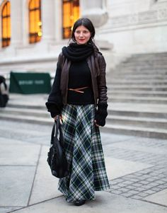 Love this entire look. The plaid skirt is awesome!