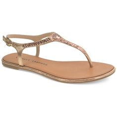Chinese Laundry Gracious Thong Sandals ($49) ❤ liked on Polyvore featuring shoes, sandals, rose gold, flat thong sandals, slim shoes, chinese laundry sandals, rose gold shoes and strappy sandals