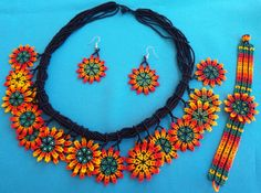 Mexican Huichol Beaded Flower Necklace, Bracelet and earrings set by Aramara on Etsy
