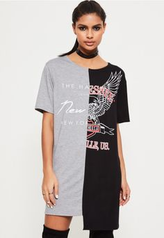 Embrace your inner state side wearing this split t shirt dress in black and  grey 409627ad4ea