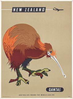 Old Original 1950s QANTAS Travel Poster NEW ZEALAND