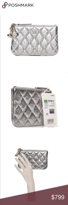 f2833730db8754 CHANEL Metallic Calfskin Quilted Cosmo O-Case Up for sell is this STUNNING  authentic CHANEL