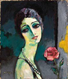 Kees van Dongen Portrait de Madeleine Grey à la rose, 1929.  Love the colors!