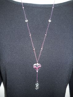 Beaded Lanyard Funky purple heart with silver tone by liverbitz, $20.00