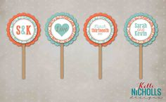 Floral Bridal Shower Cupcake Toppers by KelliNichollsDesigns