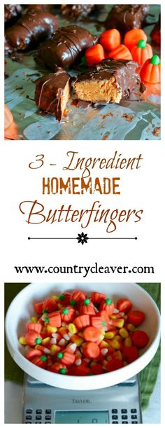 3-Ingredient Homemade Butterfinger bars!! Made with leftover Candy Corn from #Halloween!