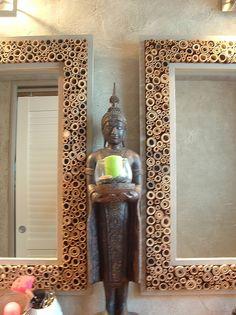 Cadre photo en bois d cor avec de l adh sif d coratif for Miroir 70x70