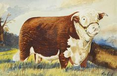 REX EARL (20th CENTURY), A HEREFORD BULL IN A
