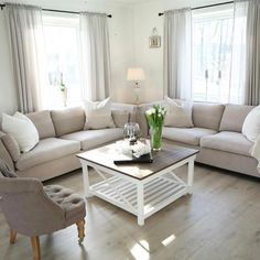 "neutral living room I would definitely change some of the decor to make it more fluid and ""pop"" visually. My Living Room, Home And Living, Living Room Decor, Living Spaces, Living Room Inspiration, Home Decor Inspiration, Decor Ideas, European Home Decor, Easy Home Decor"