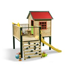 Swing Slide Climb Shangri La Multiplay Timber Playhouse - I would get this one if we could change the wall to steps.