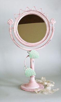vanity mirror Paris pink iron by olliesfinethings on Etsy