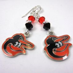 Baltimore Orioles Bird Earrings Black and by CatjuHandmadeJewelry, $16.00