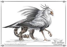 Gryphon Challenge 18 : Secretarybird and Leopard by GaiasAngel.deviantart.com on @DeviantArt