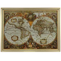 Printed on canvas, this antique map reproduction features a two-hemisphere design and muted sepia tones. Product: Framed wall art...