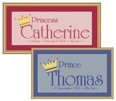 Prince and Princess cross stitch name sampler