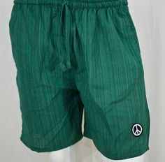 100% Cotton, Green Pinstripe Yoga Shorts.  thepeacestore.net