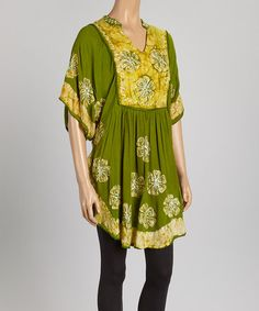 Another great find on #zulily! Green Floral Cape-Sleeve Dress by Aqua Blue #zulilyfinds