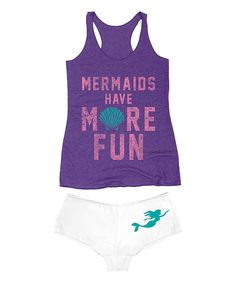 Look at this Purple 'Mermaids Have More Fun' Tank & White Hipster on #zulily today!