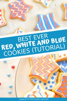 Enjoy these red, white and blue star cookies made using sugar cookies and royal icing. These patriotic cookies are some of the best Fourth of July cookies as they're really easy to make and fun to do with kids. This patriotic cookie tutorial will help you impress all of your friends and family at the yearly barbecue. Colorful Cookies Recipe, Royal Icing Cookies Recipe, Blue Cookies, Star Cookies, Cookie Recipes For Kids, Best Cookie Recipes, Dessert Recipes, Patriotic Desserts, Patriotic Party