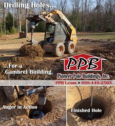 Drilling Holes for a Pioneer Pole Building. Pole Buildings, Drilling Holes, Gambrel, Business, Store