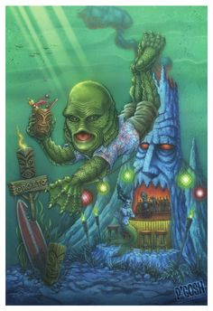 Tiki and Horror go together like a Creature and a Black Lagoon. I love Tiki Oasis. This being the second year of the Miss Tiki Oasis pagea. Tiki Art, Tiki Tiki, Tiki Bar Decor, Tiki Lounge, Horror Monsters, Hawaiian Tattoo, Tiki Room, Black Lagoon, Classic Monsters