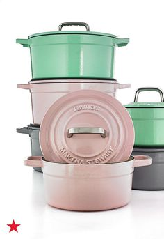 Try something different in the kitchen this season and mix & match your cast iron pots in soft, pastel hues. Visit macys.com for these and even more colors from the Martha Stewart Collection of enameled cast iron casseroles.