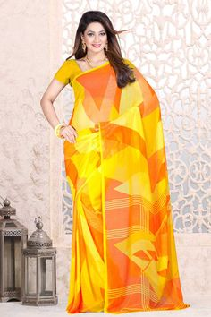 Yellow with Orange Georgette Saree and Yellow Blouse Price:-£25.00 Indian Designer Yellow with Orange Sarees are now in store presents by Andaaz Fashion. Embellished with printed work and Yellow Georgette Short Sleeve Blouse. This is perfect for festival wear, casual, ceremonial. http://www.andaazfashion.co.uk/yellow-with-orange-georgette-saree-and-yellow-blouse-dmv7897.html