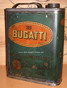Huile Bugatti vintage oilcan by laika-vintage, via Flickr